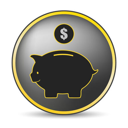 piggy bank icon in yellow Vector