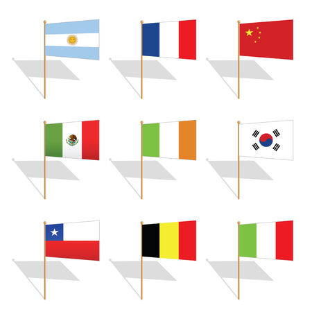 pin flags from nine countries