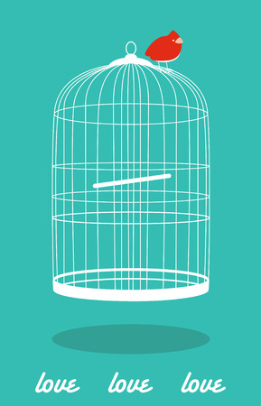 in a cage: cute card with bird out of the cage