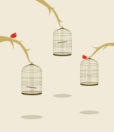 Drei Vögel auf Bäumen und Käfige Standard-Bild - 8827286