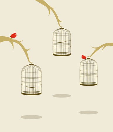 three birds on trees and cages