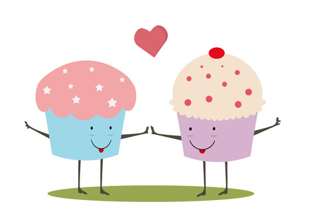 cupcake illustration: love card of two cupcakes