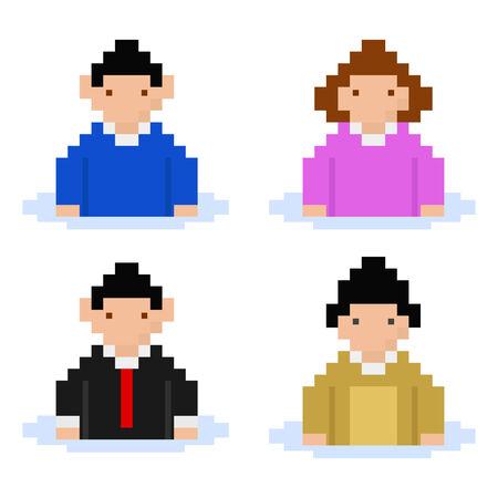 men and women pixel buddies Vettoriali