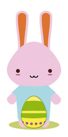 easter bunny kawaii style for season Vector