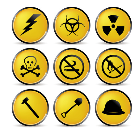 poison symbol: set of nine yellow security icons