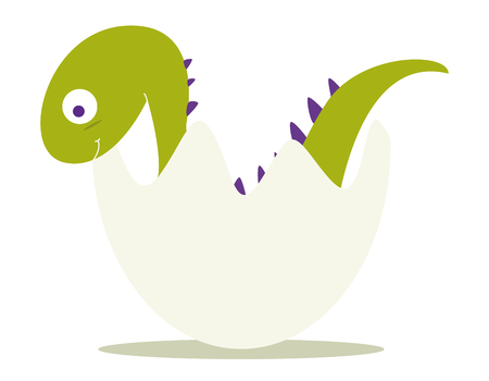 green baby dinosaur in shell Vector