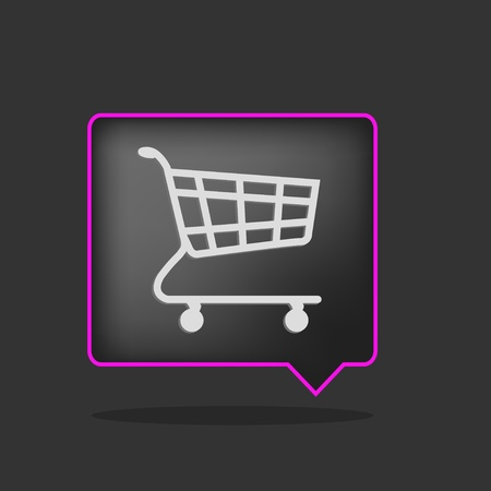 3d black and purple shopping cart