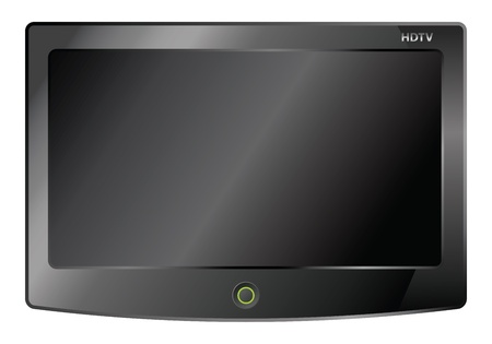 lcd tv: black lcd tv screen hanging on Illustration