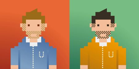 pixel art: two mens pixelated art