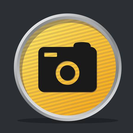 camera dark badge with yellow background Stock Vector - 9355519