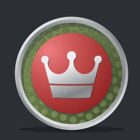 crown dark badge with reds and greens colors Vector