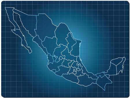 bundesl�nder: blau dunkel Karte von Mexiko Illustration