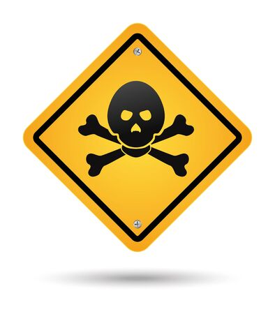 yellow skull poison sign, danger Vector