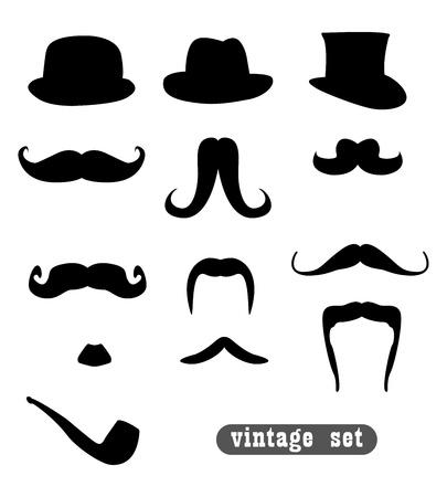 sombrero: conjunto de vendimia, con bigotes, sombreros y una tuber�a