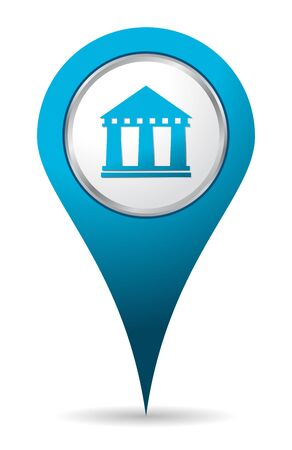 institution: blue location bank icon Illustration