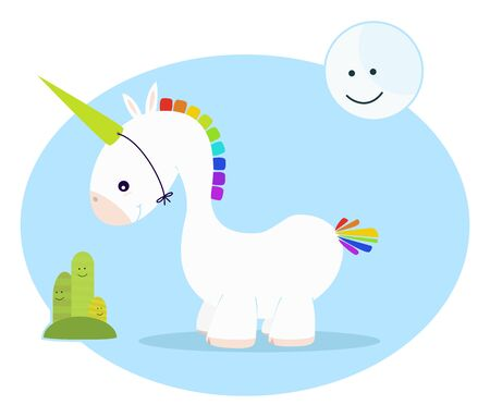 cute unicorn baby, with moon, and cactus Vector
