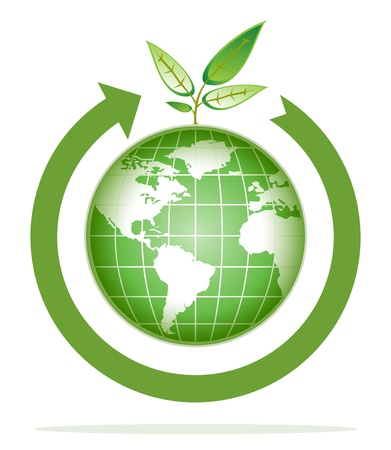 green world for recycling, go green Stock Vector - 9628819