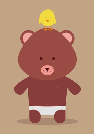 baby bear and chicken in top of the head Vector
