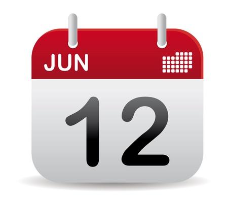 calendrier jour: calendrier de juin rouge debout