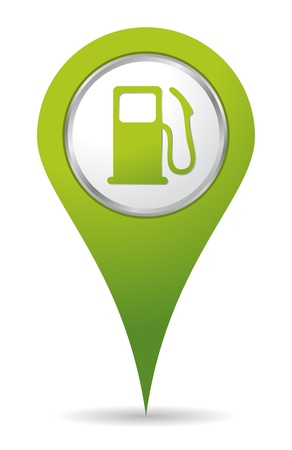 fossil fuel: green location gas pump icon Illustration