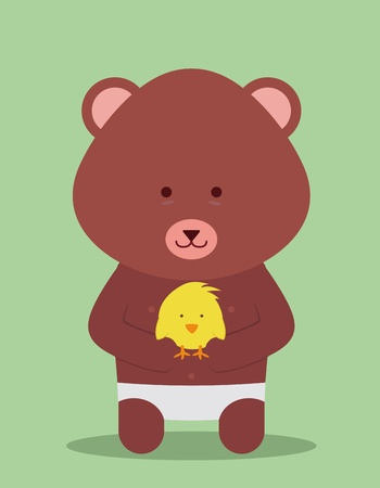 teddy bear hugging a little chicken Vector