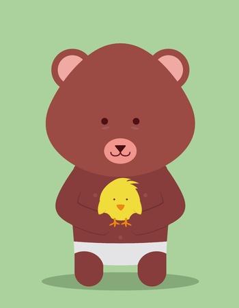 teddy bear hugging a little chicken Ilustração