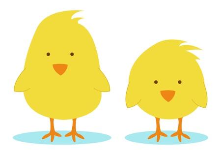 2 つの小さな黄色の鶏