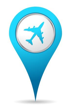 blauwe locatie vliegtuig icoon