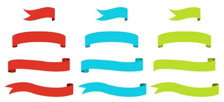 green swirl: set of banners ribbon flags