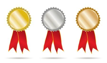 ribbons: set gold silver and bronce ribbons Illustration