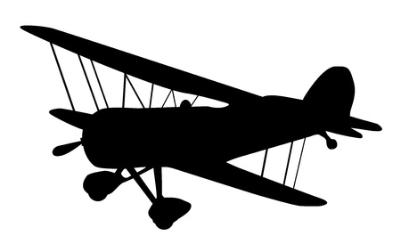 small plane: vintage biplane silhouette balck and white