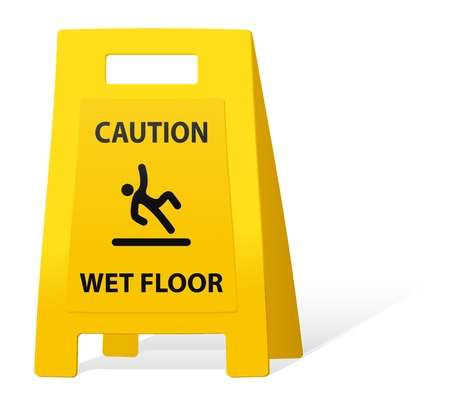 yellow caution sign wet floor
