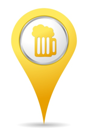 location bar icon with beer drawing Vectores