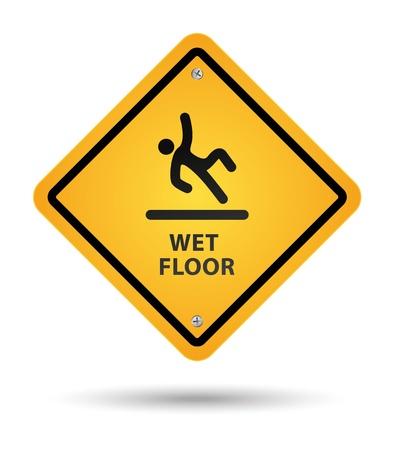 wet floor caution sign: signo de piso h�medo amarillo