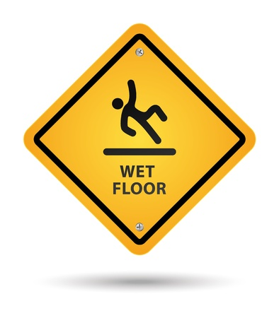 yellow wet floor sign Stock Vector - 9716445