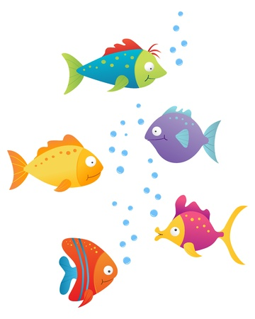 underwater fishes: set of color character fishes