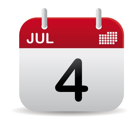 red july calendar stand up Vectores