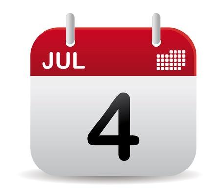 calendario julio: calendario de julio rojo stand up Vectores