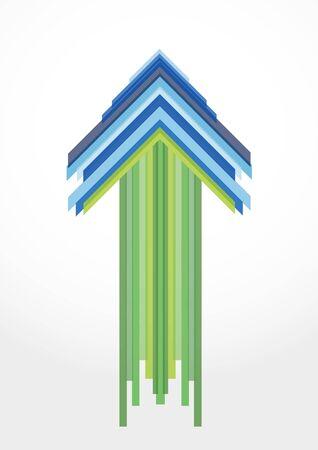 flecha azul: flecha verde y azul