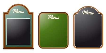 set of three chalkboard menues Vector
