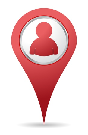 map pin: location people icon in red color Illustration