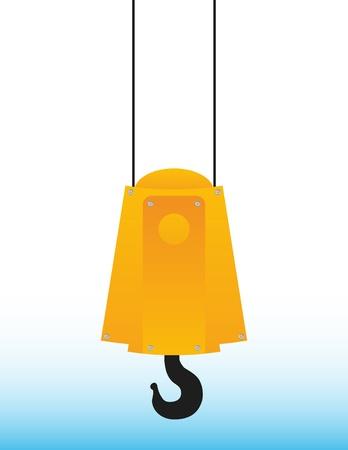 hanging yellow crane hook on blue sky