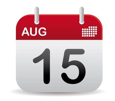 månader: röda augusti kalender stå upp Illustration