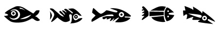 calendar icon: set of aztec fishes in black and white
