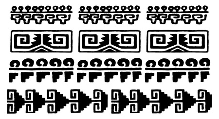 black and white aztec glyphs from mexico Illustration
