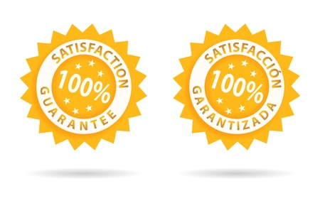 zufriedenheitsgarantie: Zufriedenheit Garantie 100 %, in Englisch oder Spanisch Illustration