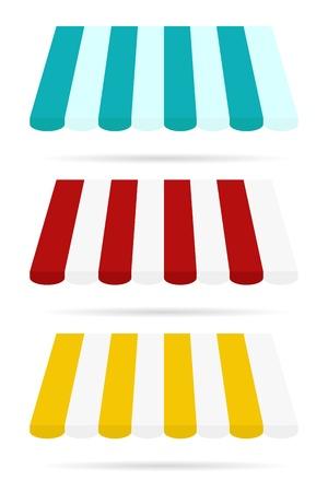 매장 정면에서 색 차양 세트 일러스트