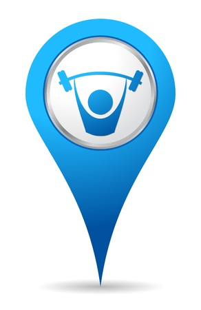 gym: blue location gym icon Illustration