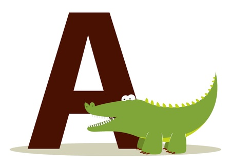 Letter A alligator alphabet, for kids Çizim
