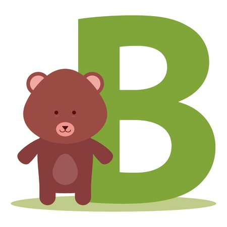 bear alphabet B letter for kids Vector